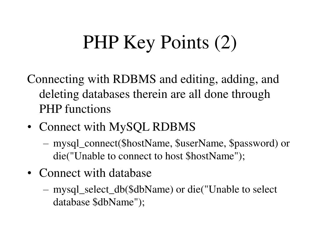PHP Key Points (2)