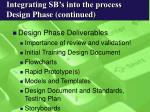 integrating sb s into the process design phase continued19