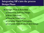 integrating sb s into the process design phase