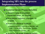 integrating sb s into the process implementation phase