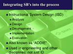 integrating sb s into the process