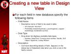 creating a new table in design view