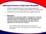 defining the function of topic areas managerial