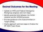 desired outcomes for the meeting
