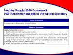 healthy people 2020 framework fiw recommendations to the acting secretary