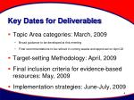 key dates for deliverables