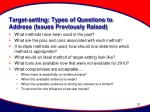 target setting types of questions to address issues previously raised
