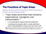 the functions of topic areas