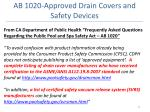 ab 1020 approved drain covers and safety devices