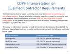 cdph interpretation on qualified contractor requirements