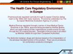 the health care regulatory environment in europe
