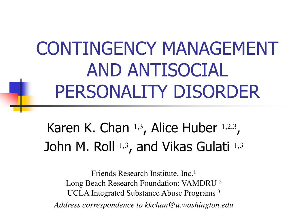 contingency management and antisocial personality disorder l.