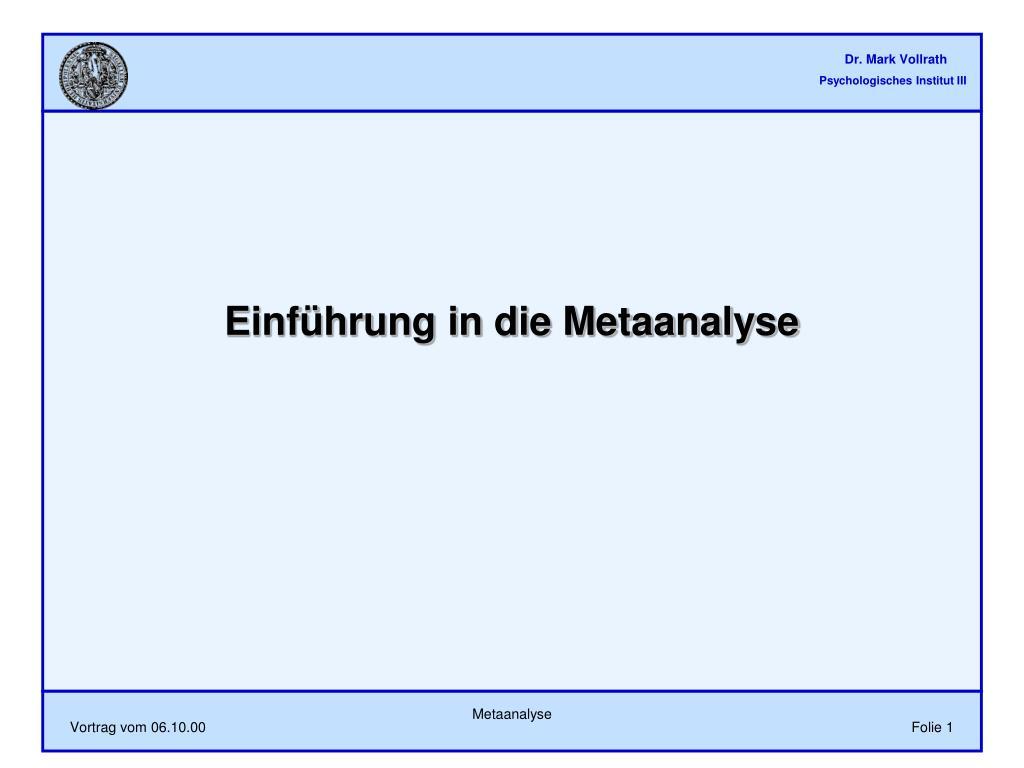 einf hrung in die metaanalyse l.
