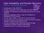 high availability and disaster recovery data tier sql database mirroring