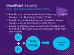 sharepoint security data role based access control rbac