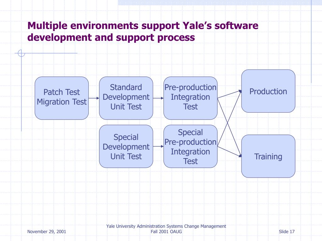 Multiple environments support Yale's software development and support process