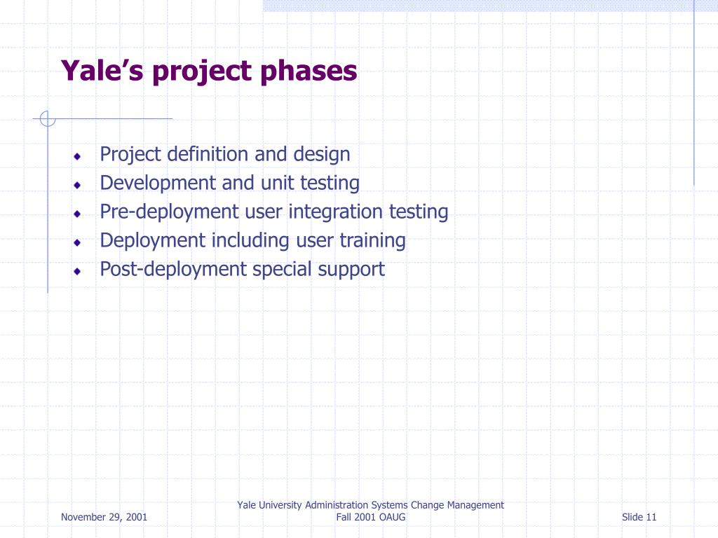 Yale's project phases