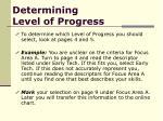 determining level of progress