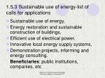 1 5 3 sustainable use of energy list of calls for applications