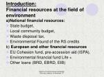 introduction financial resources at the field of environment