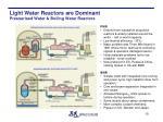 light water reactors are dominant pressurised water boiling water reactors