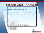 the old days analyze23