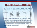 the old days analyze25