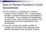 note on random numbers in excel spreadsheets