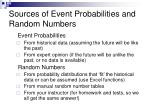 sources of event probabilities and random numbers