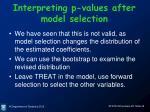 interpreting p values after model selection