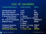 list of variables