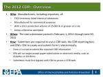 the 2012 cdr overview