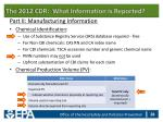 the 2012 cdr what information is reported25