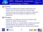 wp5 d tection localisation apprentissage d objets