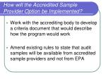 how will the accredited sample provider option be implemented