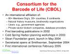 consortium for the barcode of life cbol