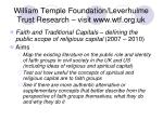 william temple foundation leverhulme trust research visit www wtf org uk