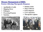 disease management of brd factors affecting therapeutic response