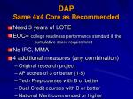 dap same 4x4 core as recommended