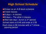 high school schedule