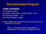 recommended program