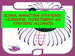 global marketing strategis licensing investement and strategic alliances