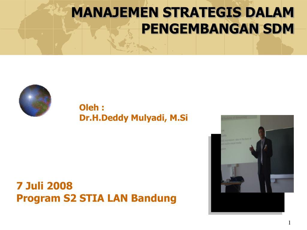 manajemen strategis dalam pengembangan sdm l.