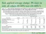 soil applied sewage sludge pb stays in soil all others 40 60 lost 20 80