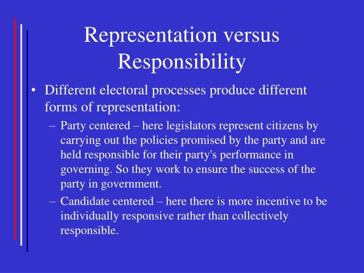 Representation versus Responsibility