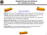 sample privacy act advisory for a workforce survey