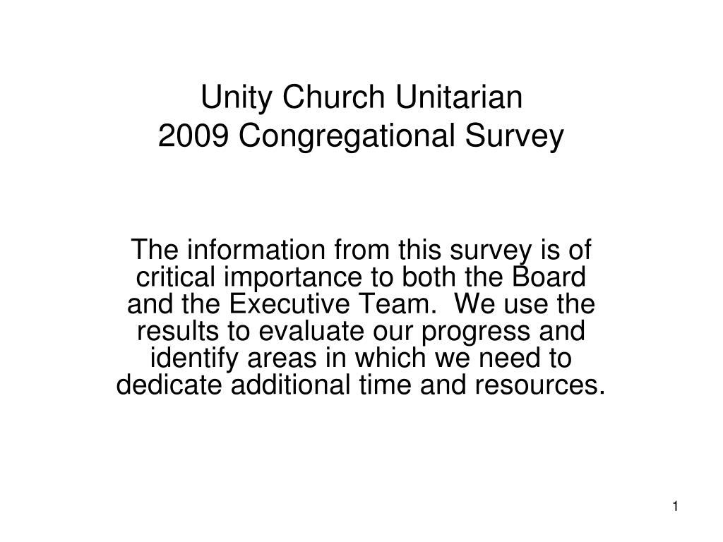 unity church unitarian 2009 congregational survey l.