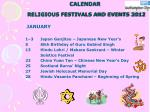 calendar religious festivals and events 2012