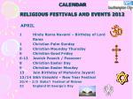 calendar religious festivals and events 20125