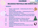 calendar religious festivals and events 20129